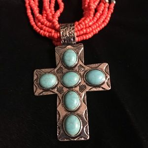 Turquoise Silver Tone Cross Necklace W/ seed beads